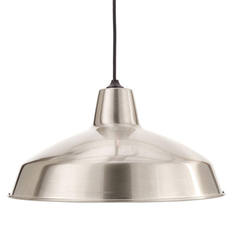 Pendant light Hampton Bay 1-lamp Storage pendant light brushed nickel GBQZAWM