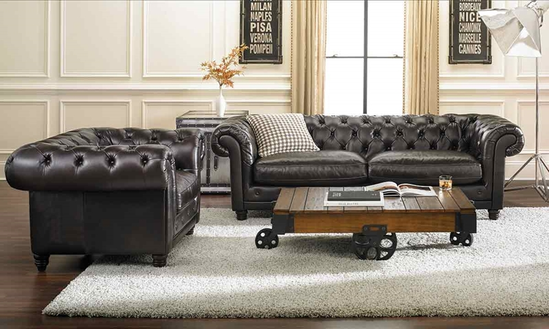 Picture of 93 inch top grain hand-tufted Chesterfield sofa DIHTXDT