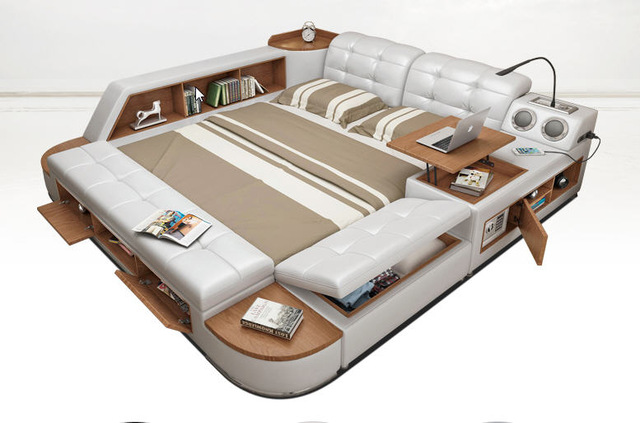 postmodern real real leather bed / soft bed / double bed king / queen size ABPEBUW