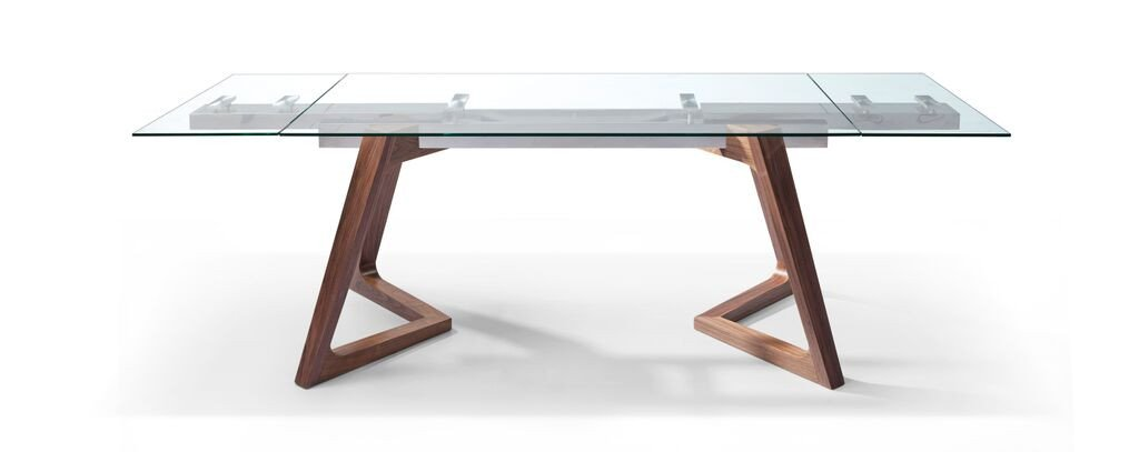 Desk or conference table made of high-quality glass with solid wood legs (extendable by UKEHISD