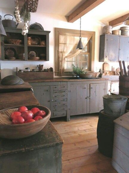 Primitive cuisine - love it    Country kitchen, country kitchen.