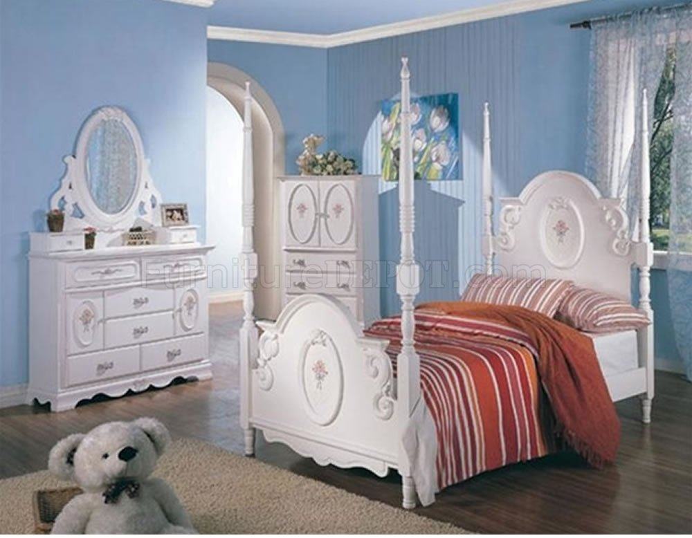 Princess bedroom set stylish girlu0027s white bedroom with ribbon details & four-poster bed DKXMJYW