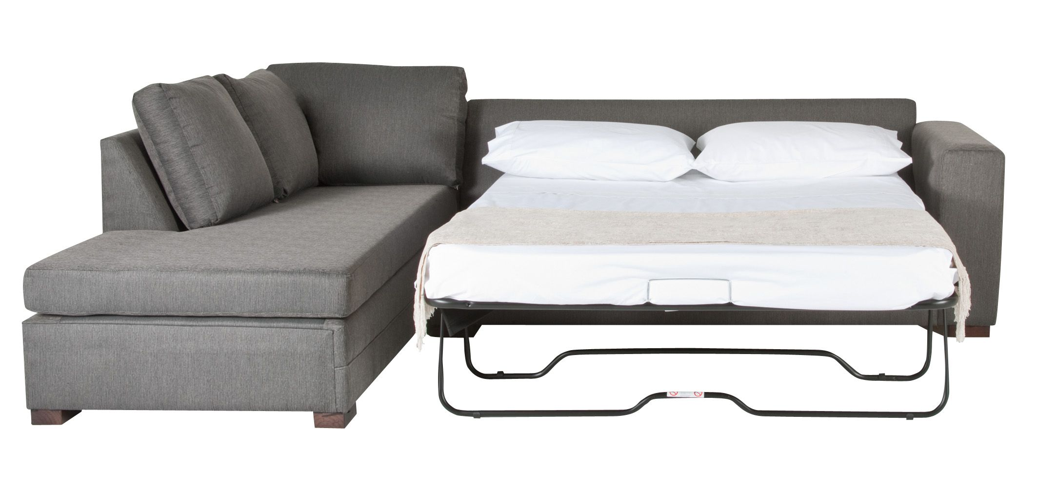 Pull out couch?  quaint gray fabric sofa bed with pull-out bed white mattress QOXYNHH