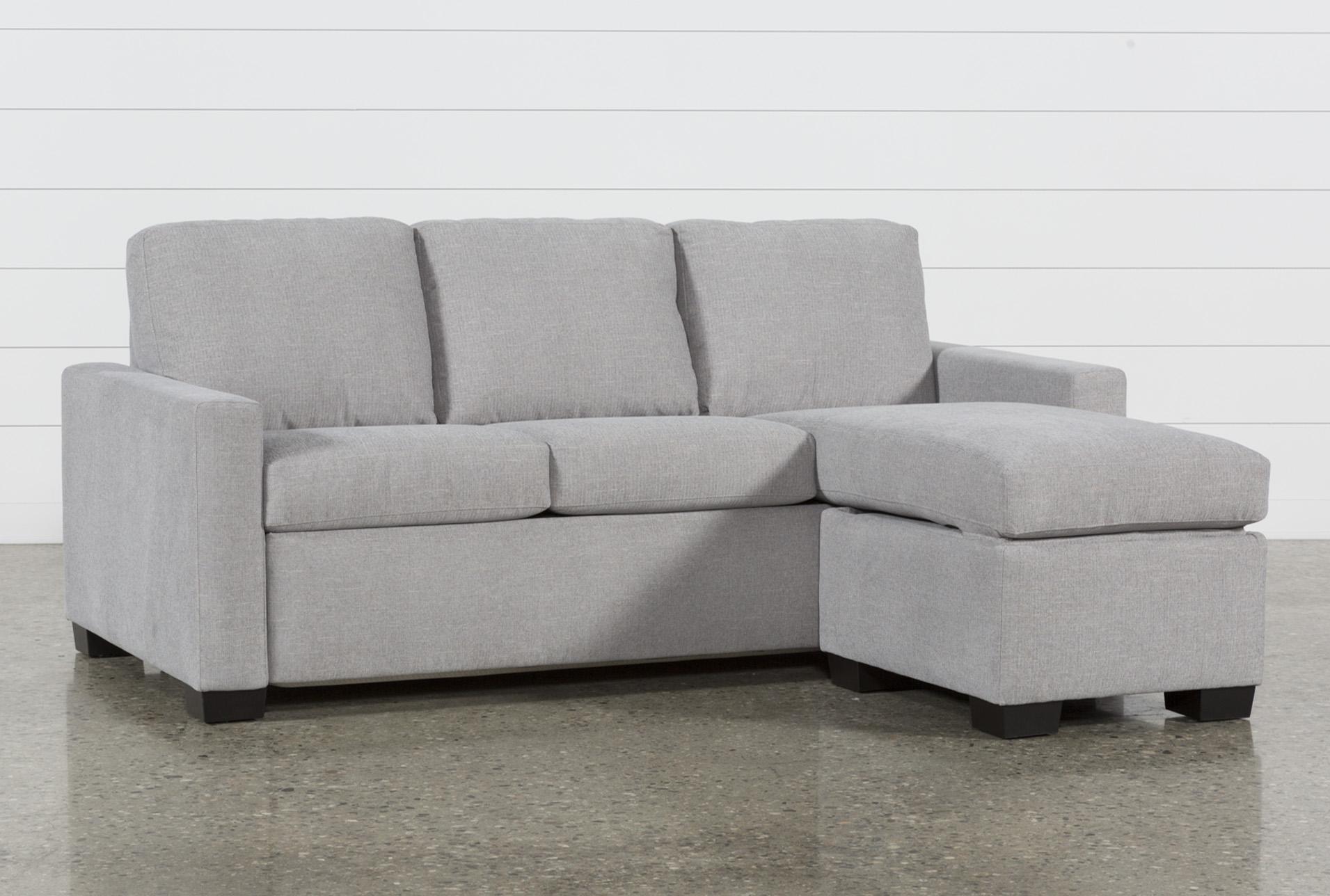 Queen sleeper sofa Mackenzie Silverpine Queen plus sleeper sofa with storage bed POMLJPV
