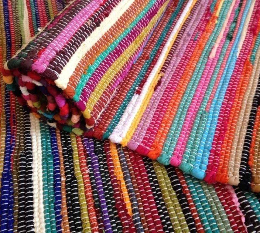 Rag rugs Fair Trade Loom Recycled Rag rugs Chindi Shabby Chic Woven Striped Mat NKGRHLP