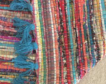 Rag rugs, rag rugs, chindi rugs, hippie rugs, colorful rag rugs, boho rugs, vegan UUJOTQU