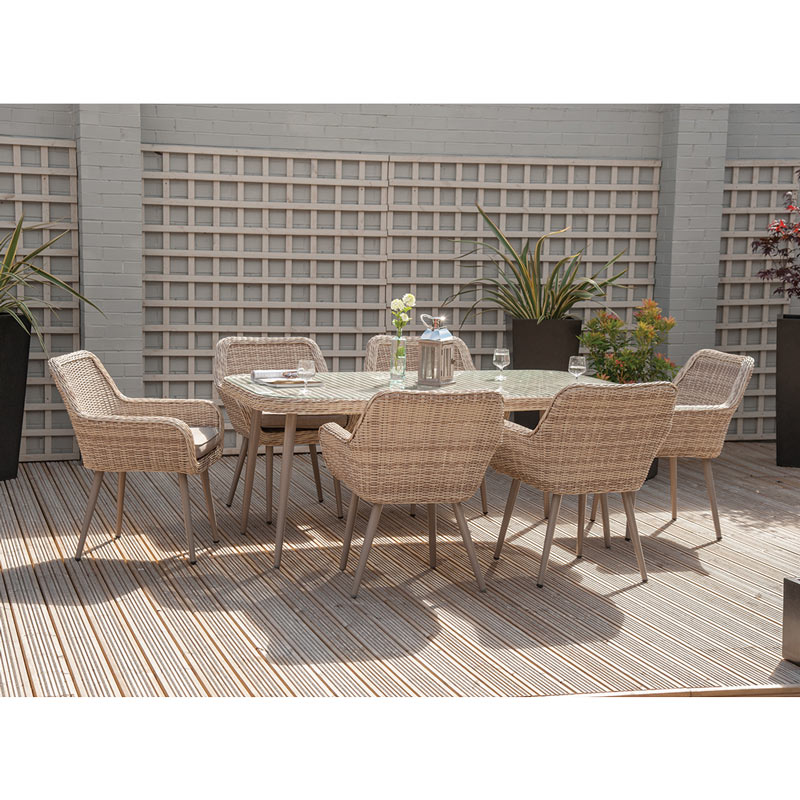 7-piece garden dining set made of rattan ... MKEFYCC