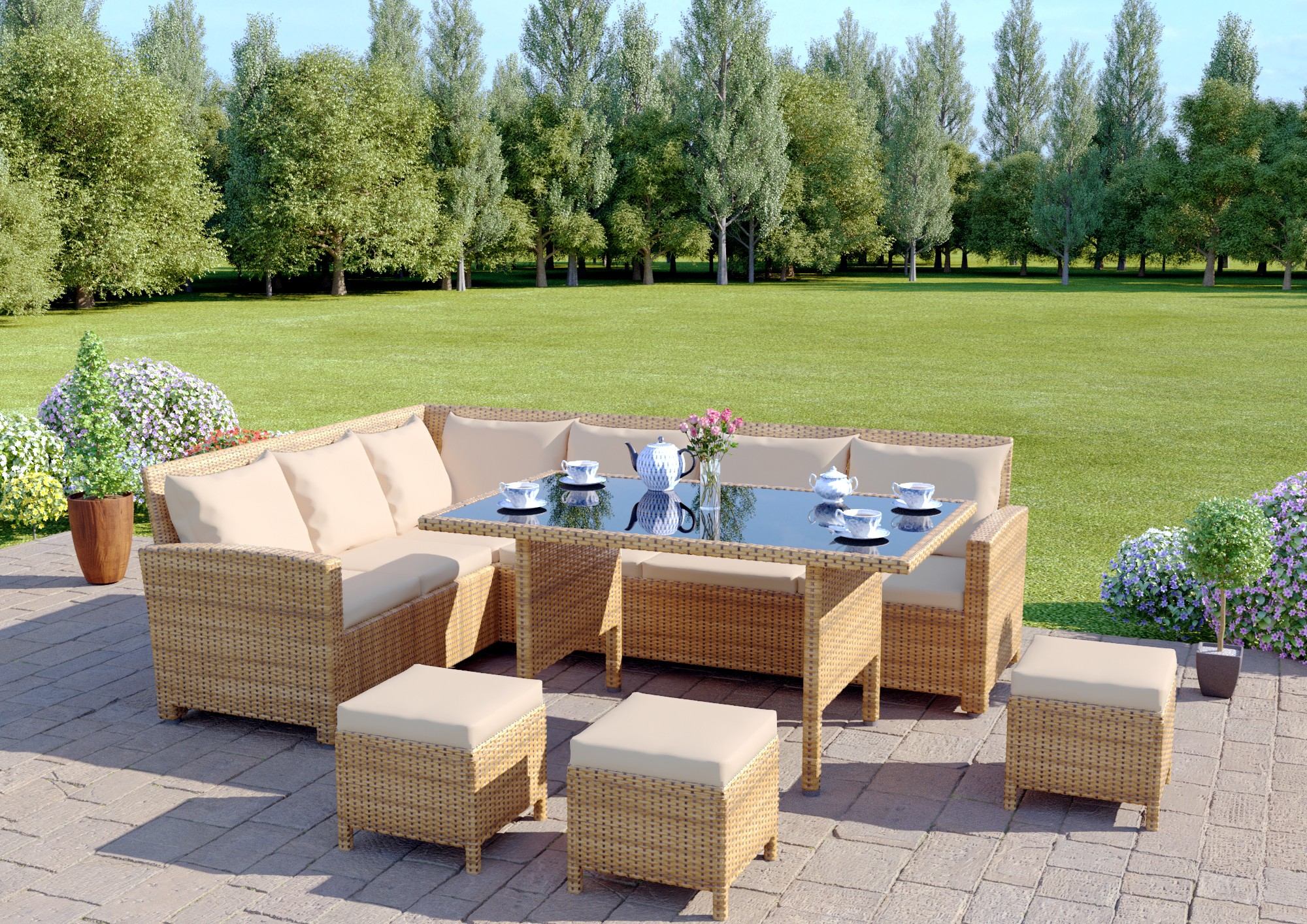 Rattan garden furniture 9 seater rattan corner garden sofa & dining table set in light PMKSDBP