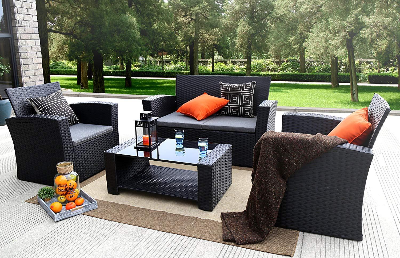 Rattan garden furniture amazon.com: baner garden (n87 4 pieces garden furniture complete terrace cushions IXMPWRN