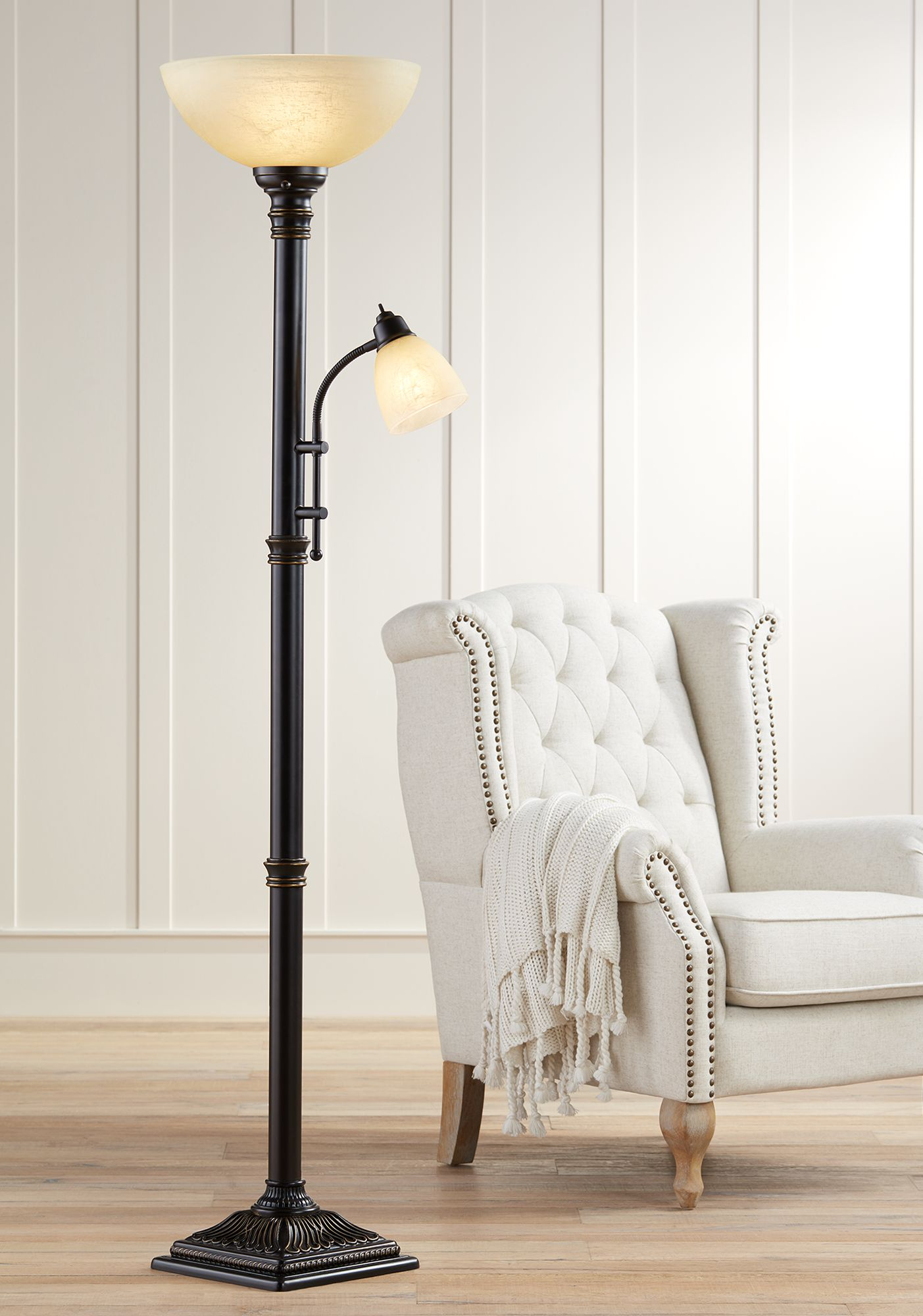 Reading lamps Garver Bronze Torchiere floor lamp with reading arm HNJDMZZ