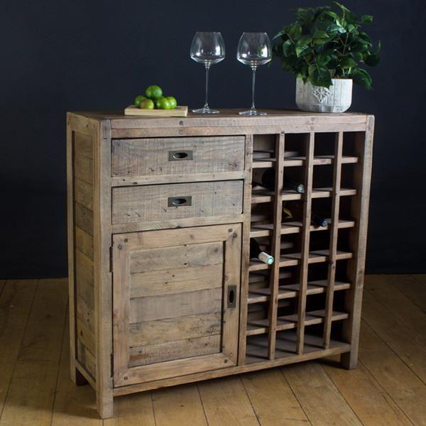 Old furniture Cotswold reclaimed wood wine rack sideboard KRBJZMQ