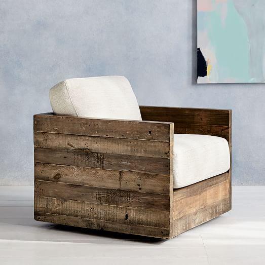 reclaimed furniture emmerson reclaimed wood swivel chair West ulm regarding furniture conversion 6 OOBKEWZ