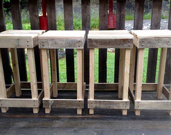 Old furniture, rustic wooden stool made of reclaimed wood, bar stool without backrest QBRSYVB
