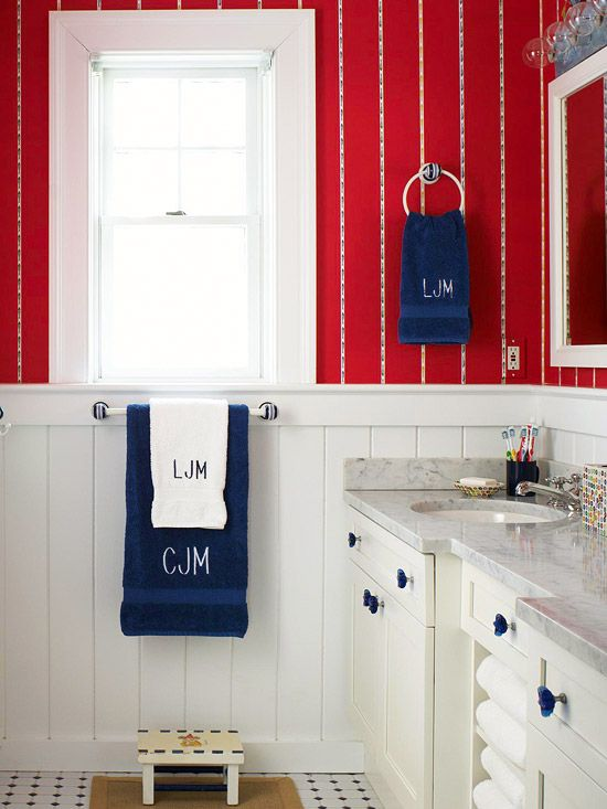 Red bathroom design ideas |  Bathroom red, blue bathroom decor, red.