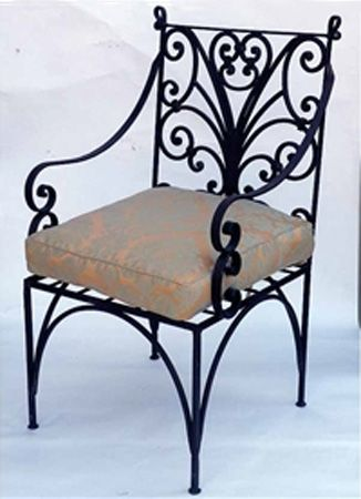 Retro style wrought iron furniture, vintage chair with cushion JUCSBNU