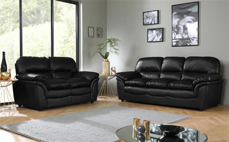 Rochester black leather sofa 3 + 2 seater EJGHNKY
