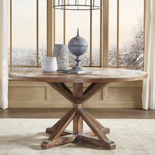round dining room tables Tischmacher rustic x-base round dining table made of pine wood by inspire q artisan FZKCVLA