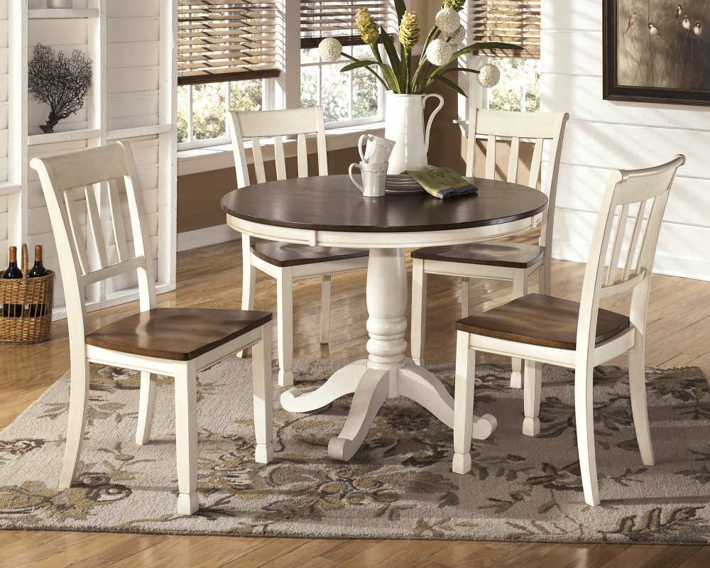 round dining room tables Whitesburg round dining room table & 4 side chairs UANYIXF