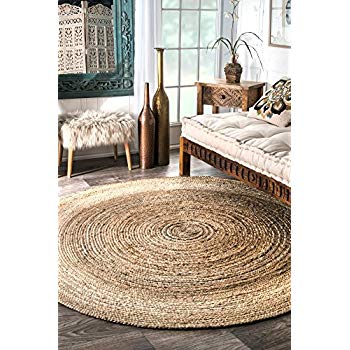 round jute carpet nuloom nature hand-woven rigo jute carpet round, 6u0027 JCMQLUM