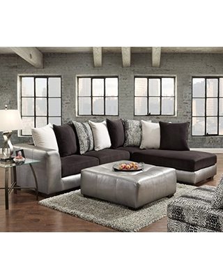 Roundhill Furniture shimmer pewter microfiber sectional sofa and ottoman, black NYVOGHW