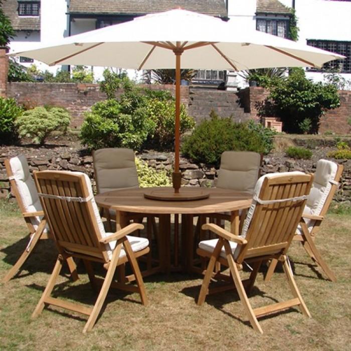 Royalcraft Balmoral Teak garden furniture set (shown with 6 Mayfair loungers BIHYCAA