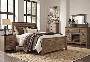 rustic bedroom furniture forest 5 piece modern rustic brown bedroom set new furniture - KING WBOWFZU
