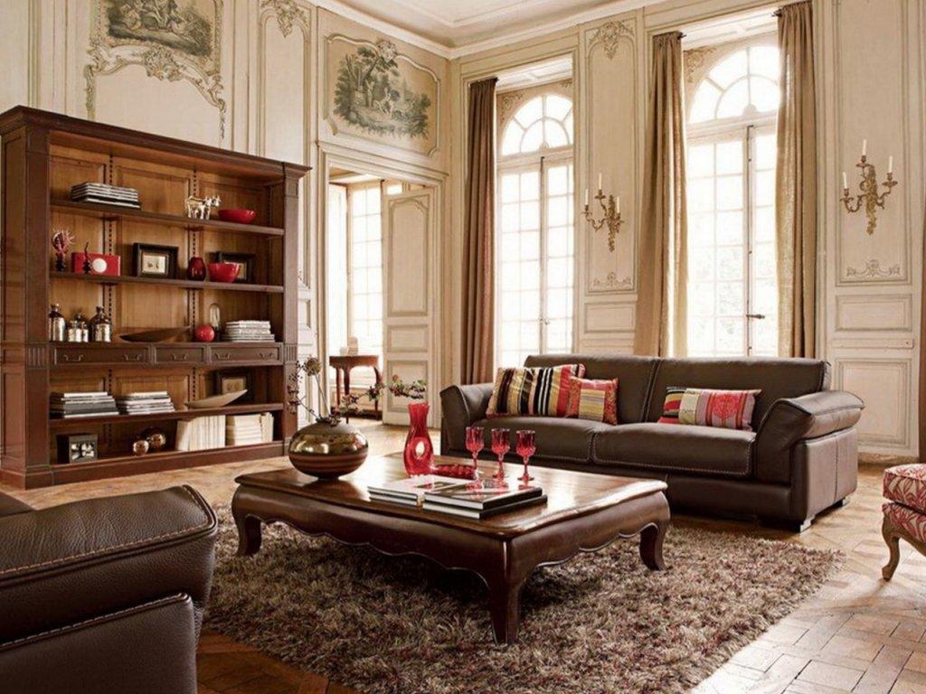 rustic brown living room rustic living room design with high ceiling, vintage furniture, dark brown DUFFEYN