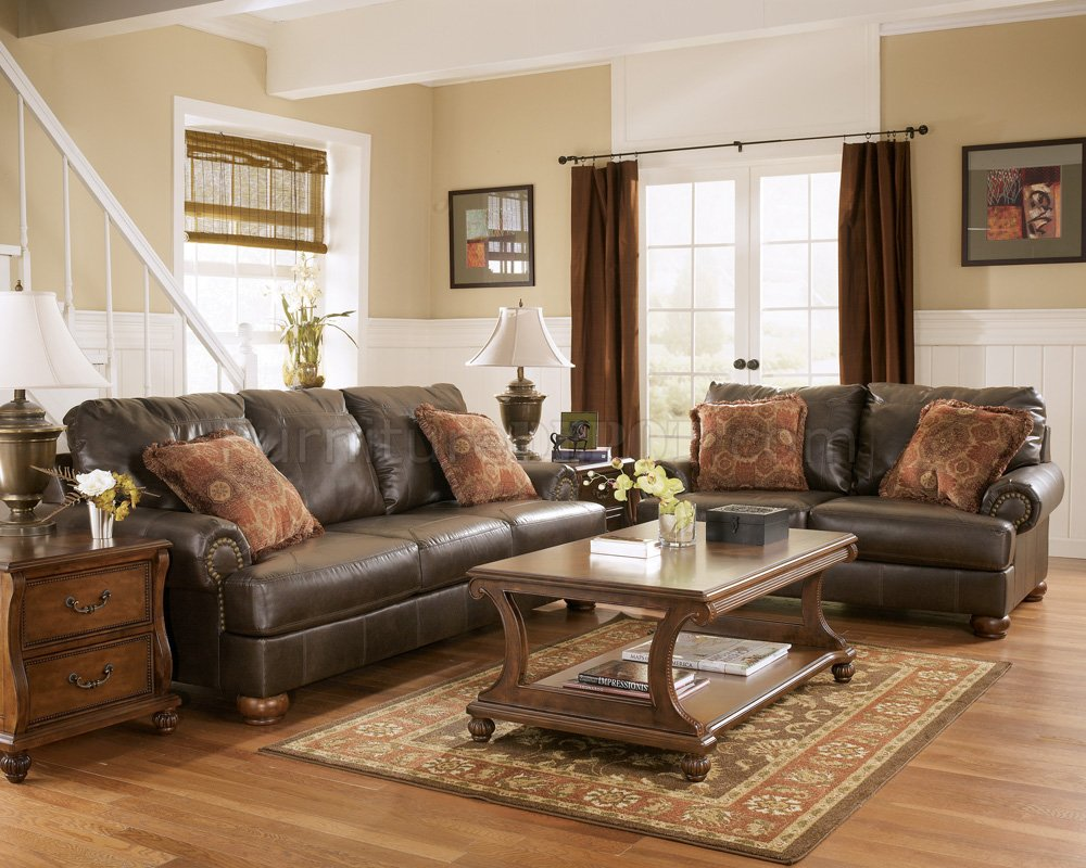 rustic brown living room truffle color rustic living room with nail head details ZMACPSU