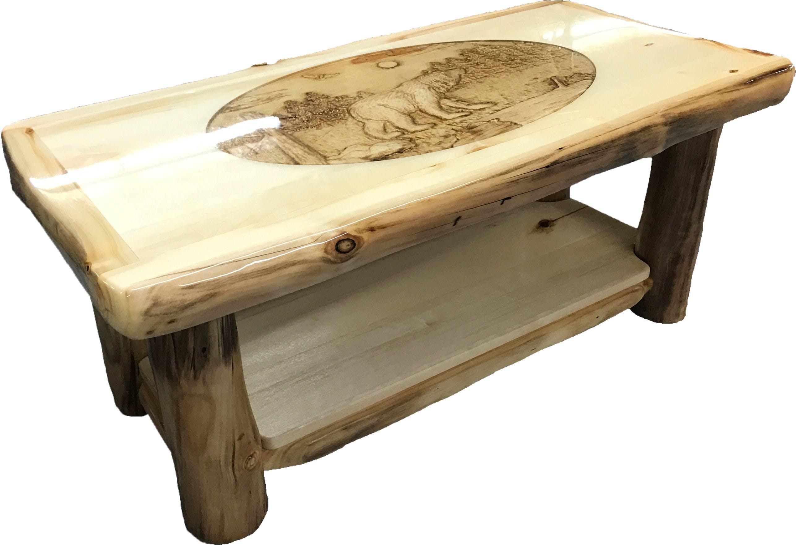 rustic wooden furniture coffee table ctab-42-nn-sh-ri-bear RGFZCUY