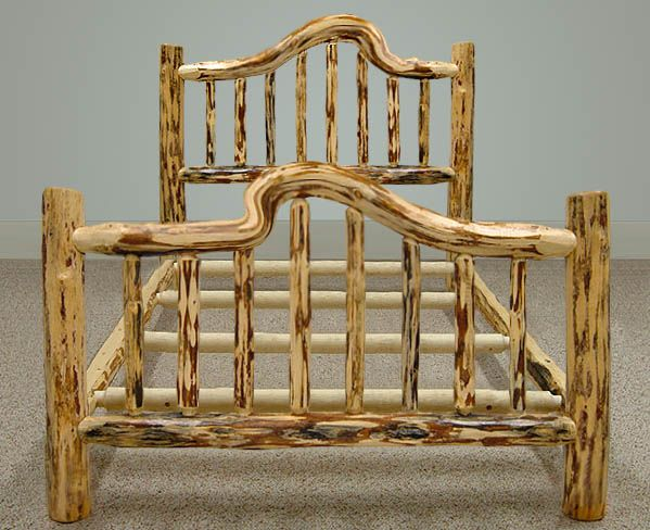 Rustic Wood Furniture Snow Curved Wood Bed Frame by Misty Mountain Furniture OGTNWAC