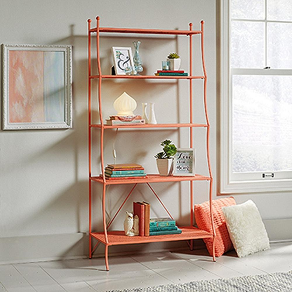 Sauder Eden Rue Coral metal bookcase with 5 shelves UVSINEQ