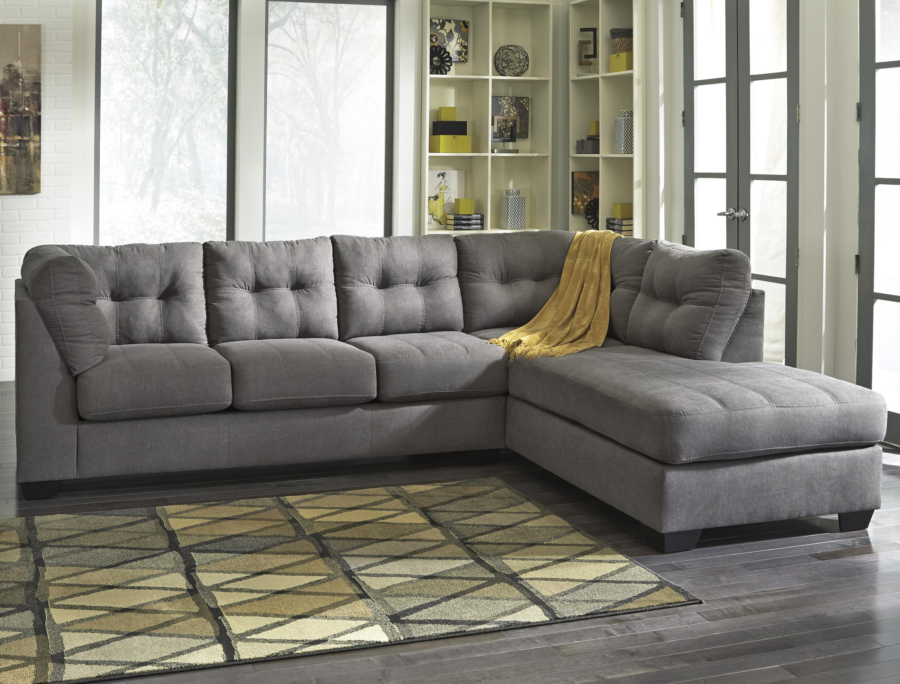 Pull-out sofa bed Benchcraft Maier - anthracite 2-part pull-out sofa with sofa bed & chaise longue - QWUZEAV