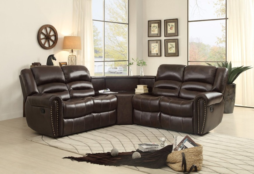Sectional sofas with loungers 3-part corner sofa made of bonded leather with adjustable BERSTFJ nail head accent
