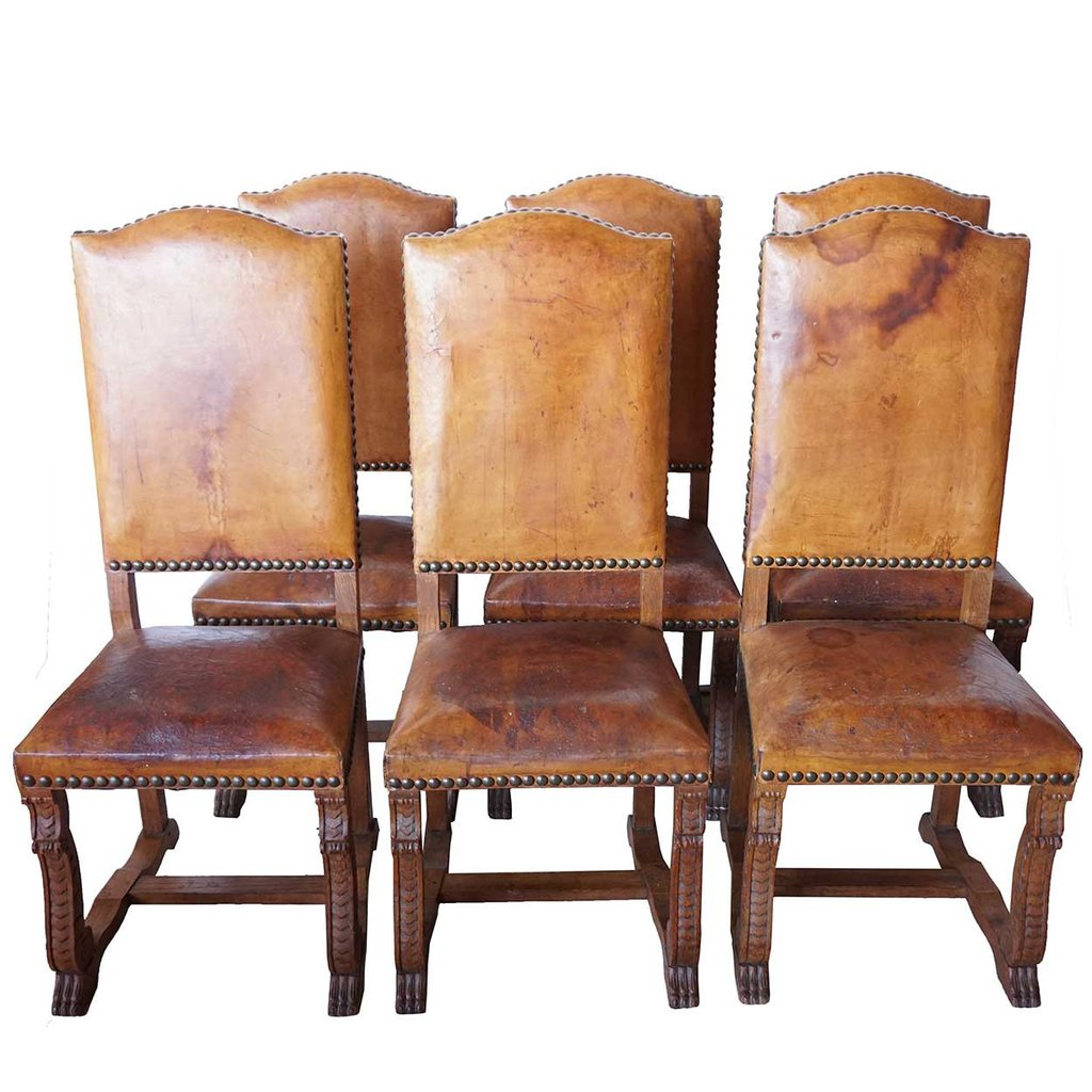 Set of 6 French leather and oak dining chairs in Louis Xiii style EBNIRTU