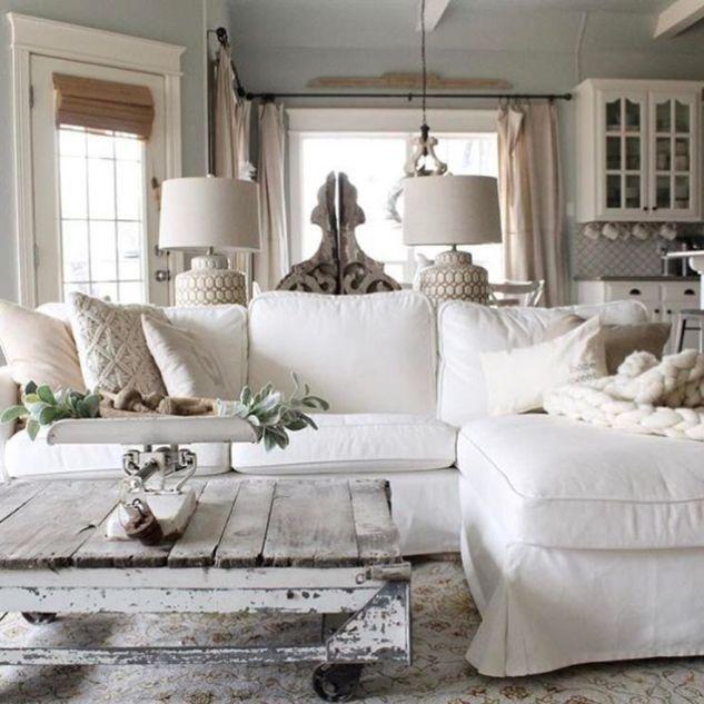 Beautiful white shabby chic living room decor ideas 13.