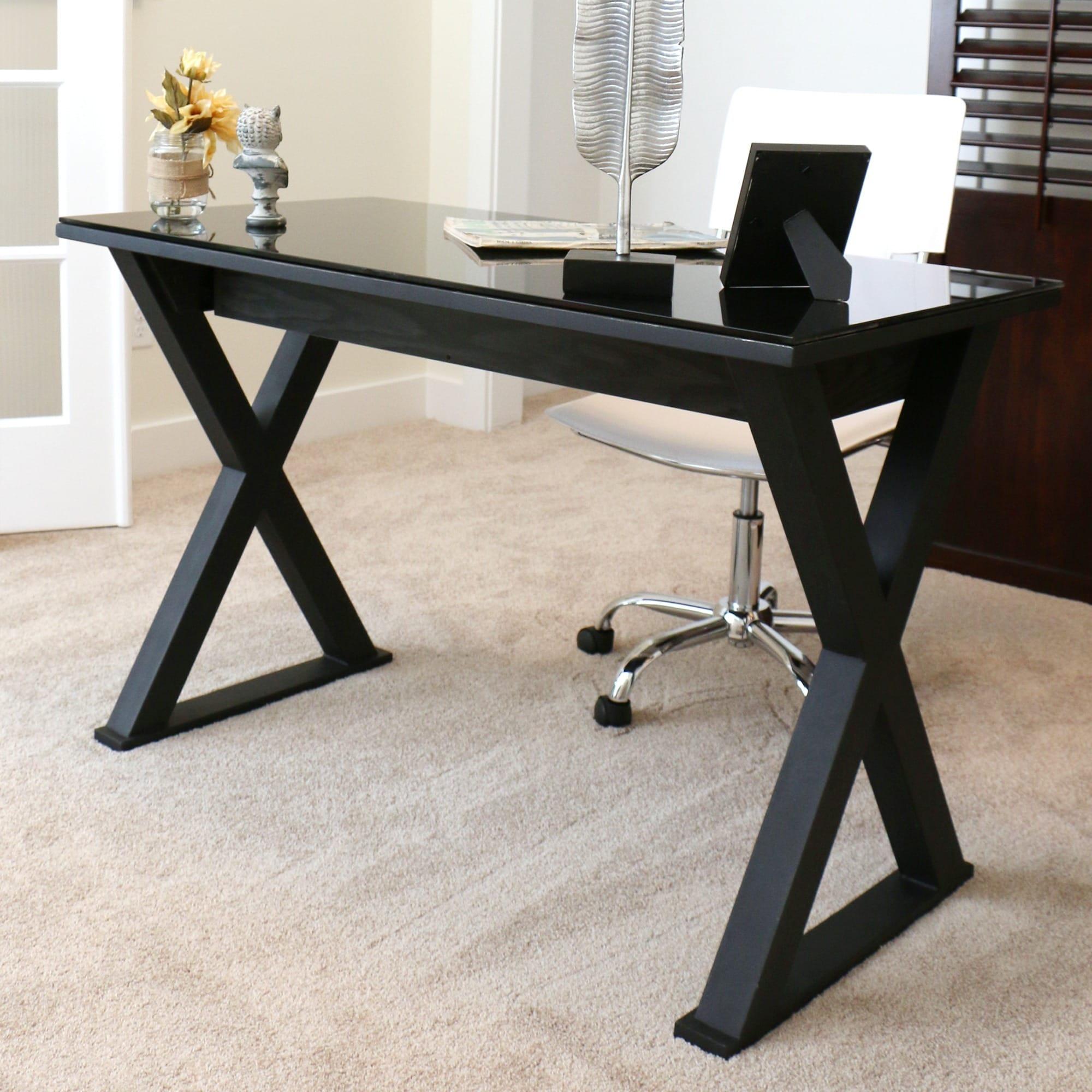 48 Inch Black Glass Computer Desk - On Sale - Free Shipping XHYZEWZ