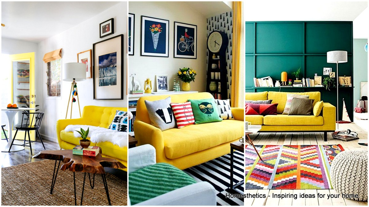 simple inspiration for style around a yellow sofa BSMRNYW