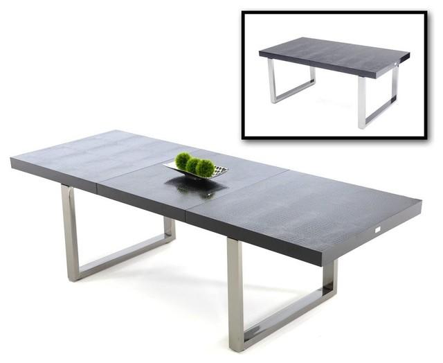Skyline black crocodile textured paint extendable dining table DEKQGGF