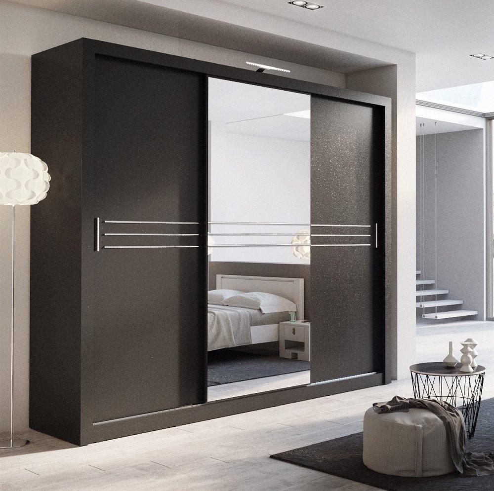 Wardrobe with sliding doors Havana 250cm wardrobe with 3 sliding doors in black GRRUXUM