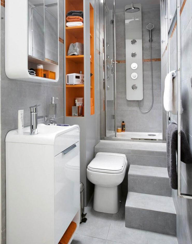 small bathroom design 32. curved edges and creative toilet placement BPYYNLR