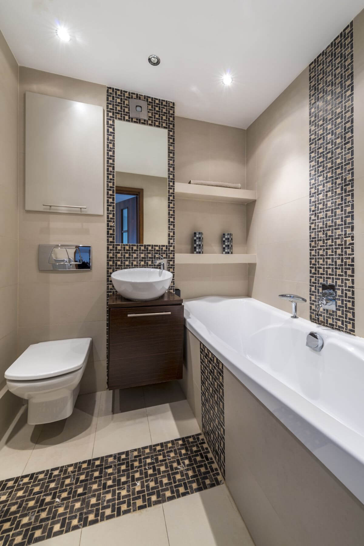 small bathroom design minimalist design with repeated tile patterns ATMUPTB