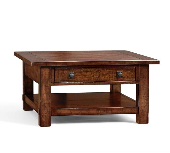small coffee table Benchwright square coffee table, rustic mahogany |  Pottery barn KQAOLIX