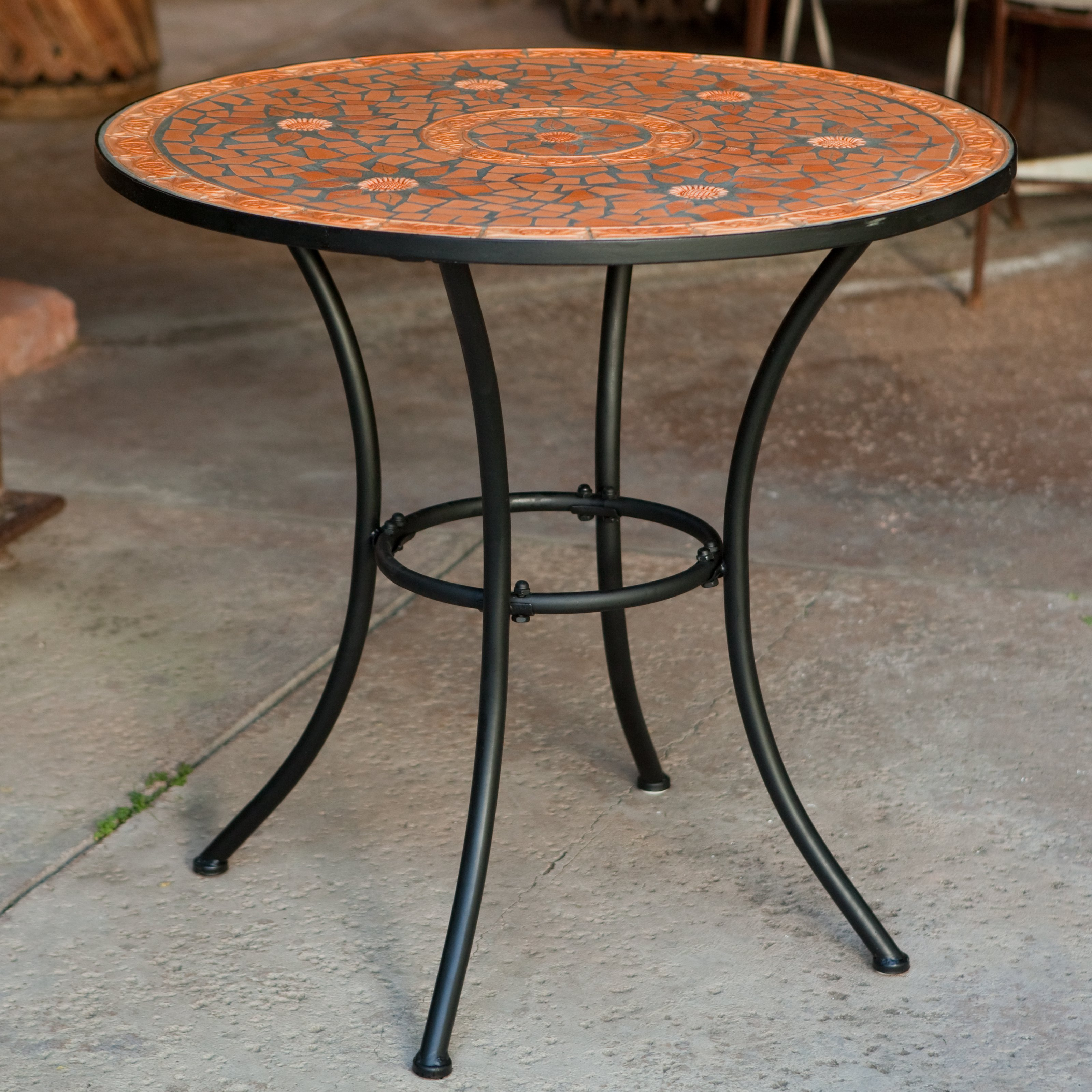 small outdoor table Coral Coast terracotta mosaic bistro table    Hay needle TUMJQGM