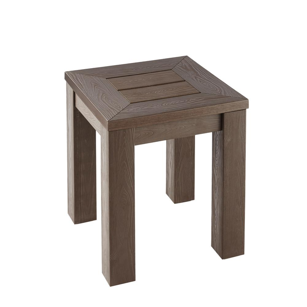 small outdoor table Hampton Bay Tacana All Weather side table made of imitation wood for outdoor use TGREJQO