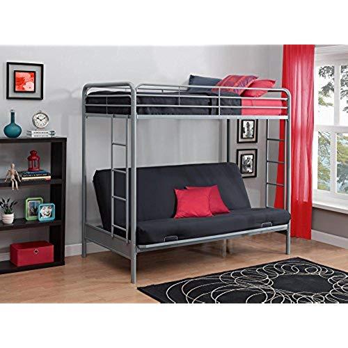 Sleeper sofa bunk bed dhp twin-over-futon sleeper sofa and bed with metal frame and ladder - JFKOOOB