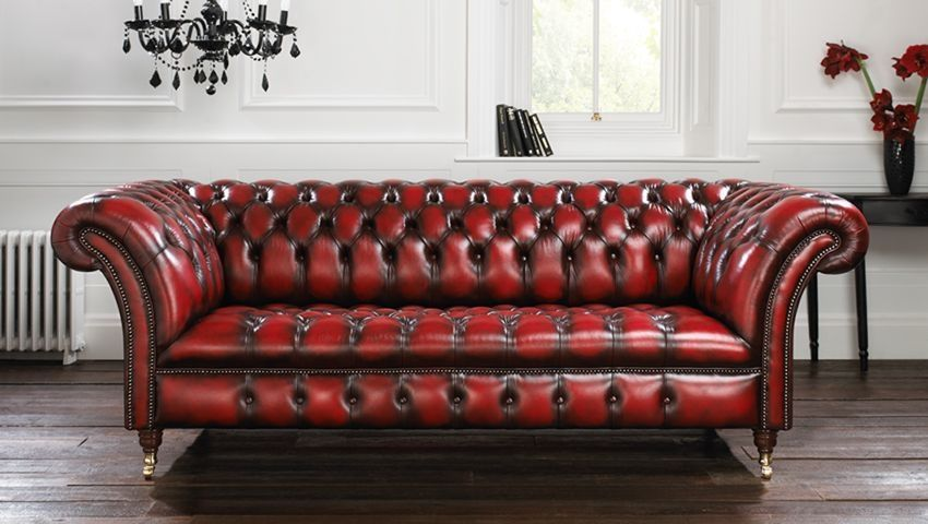 Chesterfield sofa Chesterfield sofa / leather / 3-seater / red - blenheim BUEYDSO