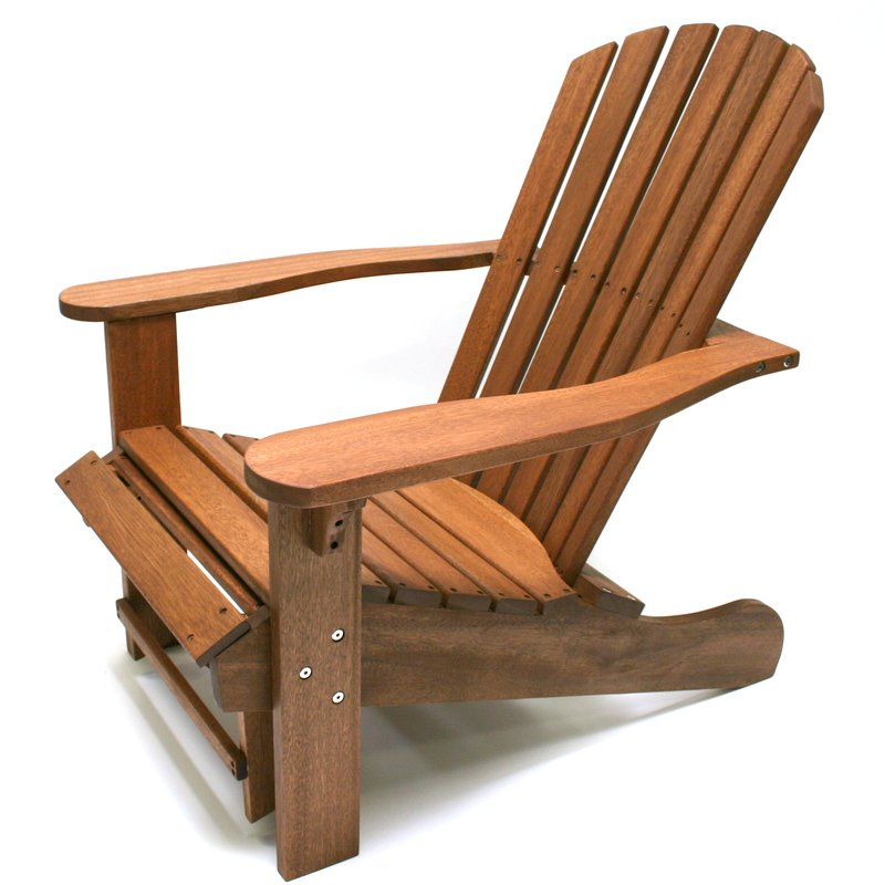 Adirondack chair made of solid wood with ottoman ZENWGUT