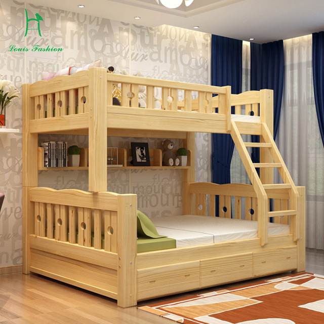Solid wood bunk bed cot wooden bed upper and lower level LAOJKRI