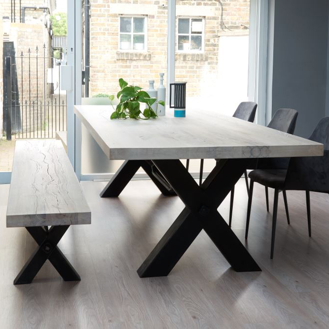 Solid wood dining table rustic solid wood & metal dining table, cross frame leg AWOAJXF
