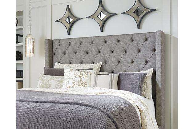 Sorinella Queen upholstered headboard, gray, large ... AQFMSCZ